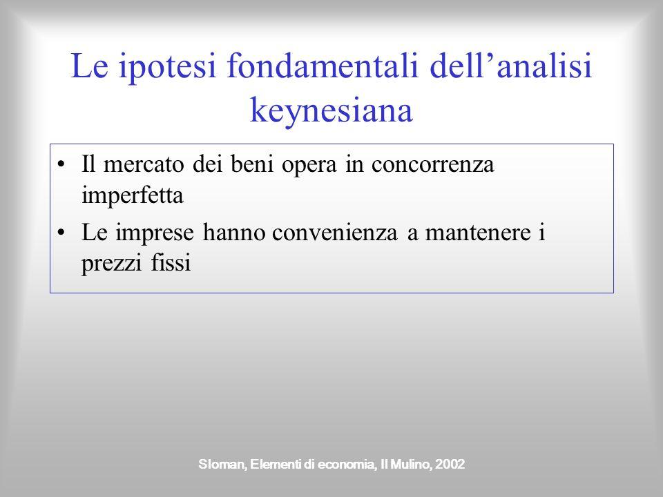 Sloman, Elementi di economia, Il Mulino, 2002 Le ipotesi fondamentali dellanalisi keynesiana Il mercato dei beni opera in concorrenza imperfetta Le im