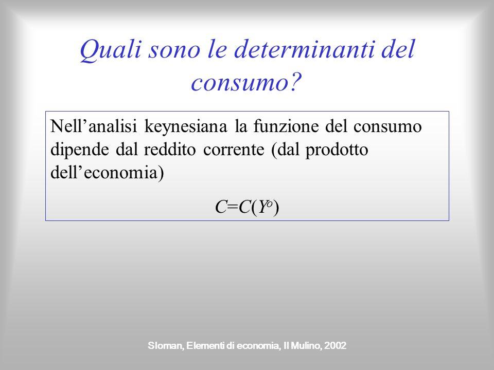 Sloman, Elementi di economia, Il Mulino, 2002 Quali sono le determinanti del consumo? Nellanalisi keynesiana la funzione del consumo dipende dal reddi