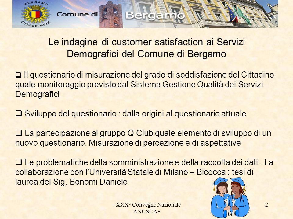 - XXX° Convegno Nazionale ANUSCA - 2 Le indagine di customer satisfaction ai Servizi Demografici del Comune di Bergamo Il questionario di misurazione
