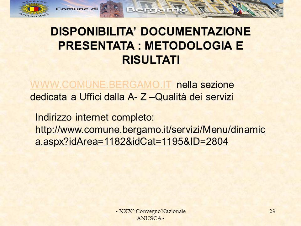 - XXX° Convegno Nazionale ANUSCA - 29 DISPONIBILITA DOCUMENTAZIONE PRESENTATA : METODOLOGIA E RISULTATI WWW.COMUNE.BERGAMO.ITWWW.COMUNE.BERGAMO.IT nel