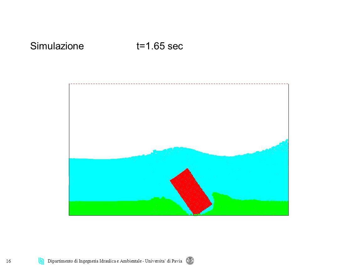 Dipartimento di Ingegneria Idraulica e Ambientale - Universita di Pavia 16 Simulazionet=1.65 sec