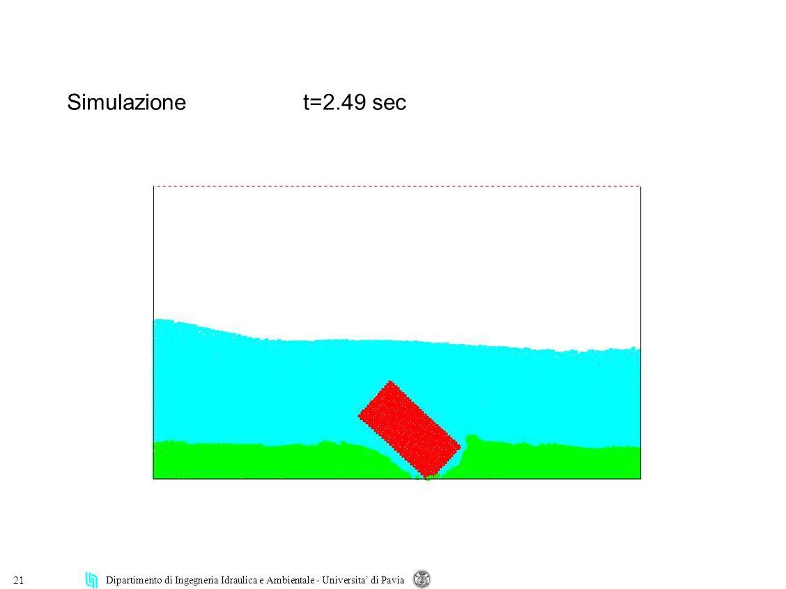 Dipartimento di Ingegneria Idraulica e Ambientale - Universita di Pavia 21 Simulazionet=2.49 sec