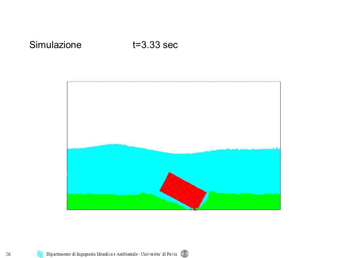 Dipartimento di Ingegneria Idraulica e Ambientale - Universita di Pavia 26 Simulazionet=3.33 sec