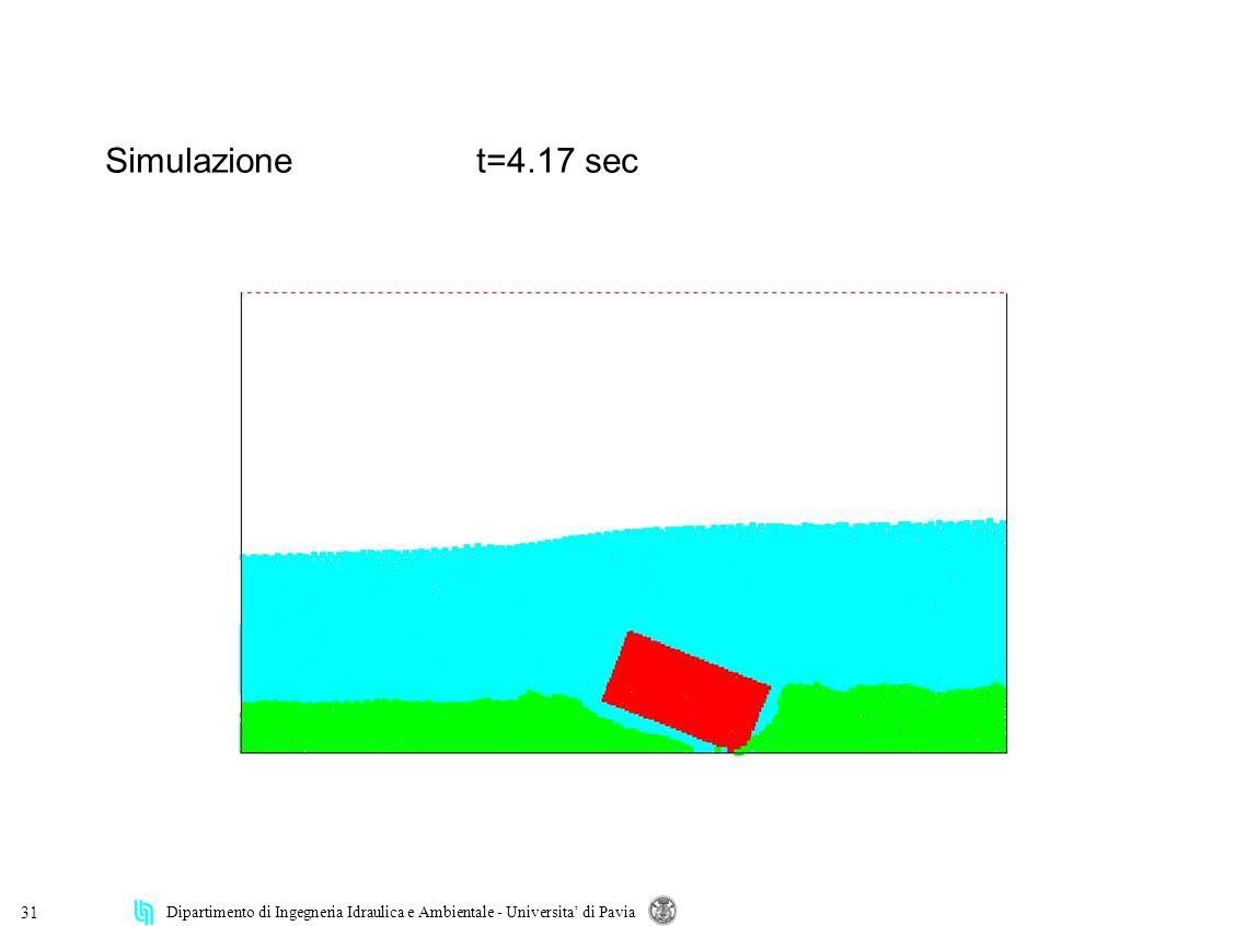 Dipartimento di Ingegneria Idraulica e Ambientale - Universita di Pavia 31 Simulazionet=4.17 sec
