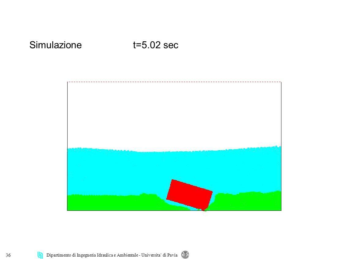 Dipartimento di Ingegneria Idraulica e Ambientale - Universita di Pavia 36 Simulazionet=5.02 sec