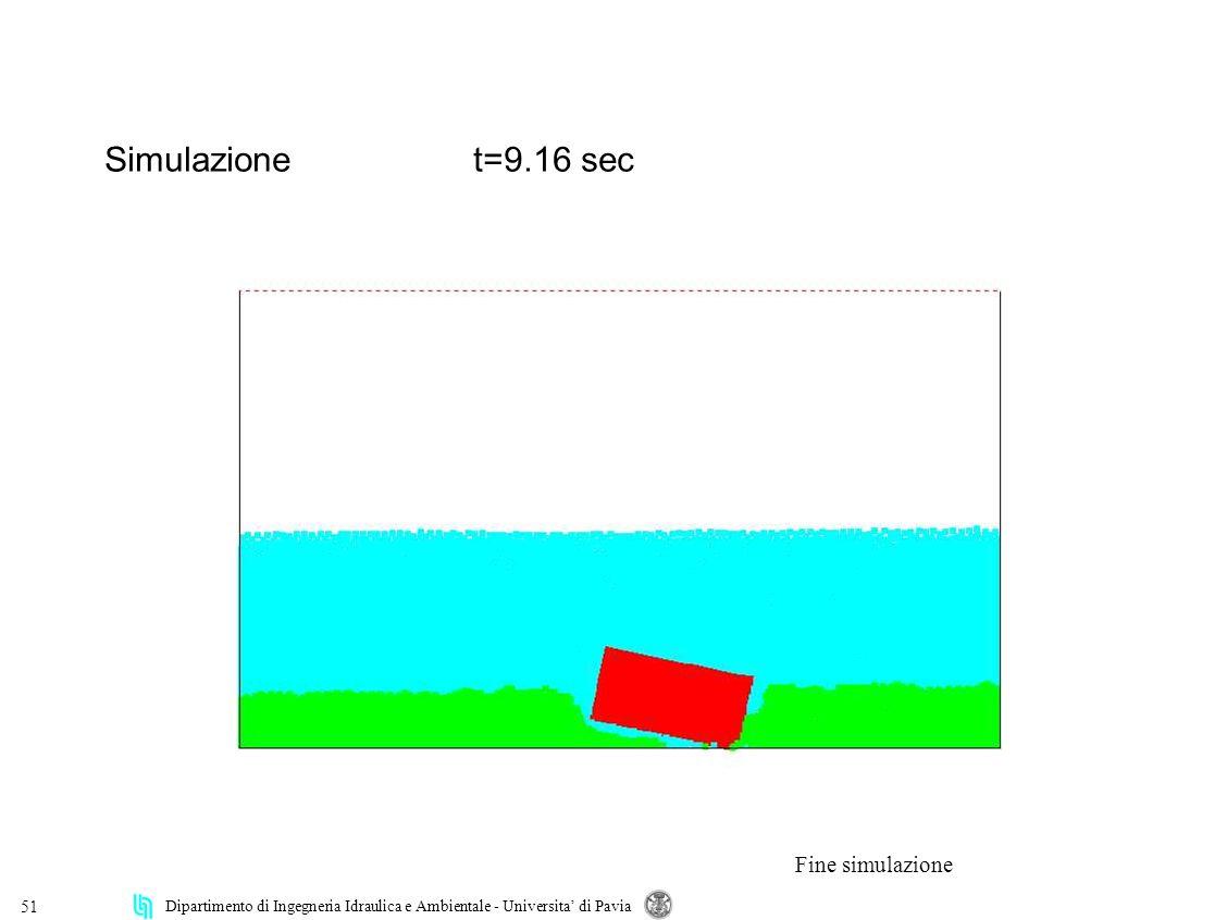 Dipartimento di Ingegneria Idraulica e Ambientale - Universita di Pavia 51 Simulazionet=9.16 sec Fine simulazione