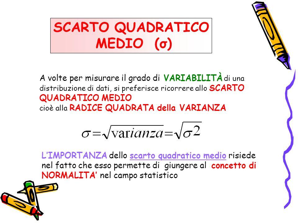 SCARTO QUADRATICO MEDIO (σ) A volte per misurare il grado di VARIABILITÀ di una distribuzione di dati, si preferisce ricorrere allo SCARTO QUADRATICO