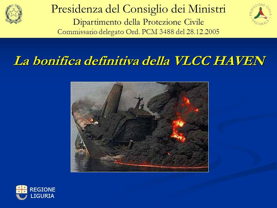 La bonifica definitiva della VLCC HAVEN Sul punto più alto della sovrastruttura dove è temporaneamente immagazzinato il prodotto, con una connessione Hot-tap, il prodotto sarà trasferito alla nave ricevente in superficie.