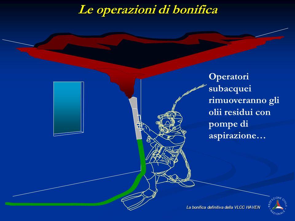 La bonifica definitiva della VLCC HAVEN Operatori subacquei rimuoveranno gli olii residui con pompe di aspirazione… Le operazioni di bonifica