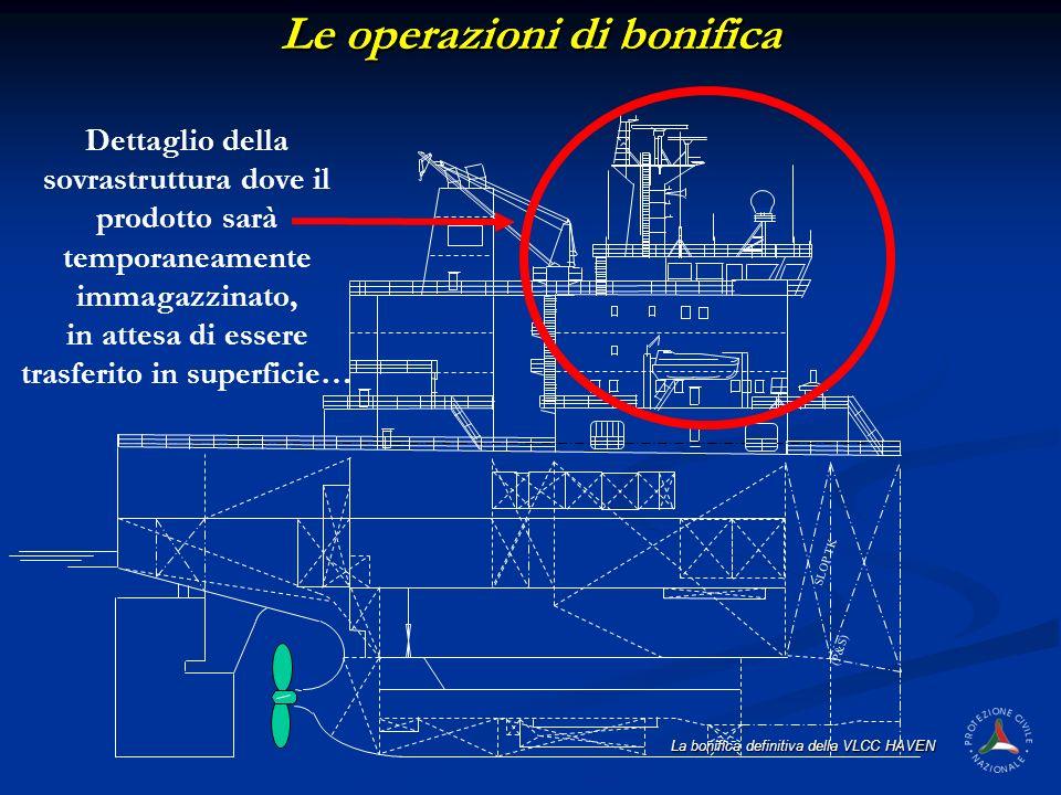 La bonifica definitiva della VLCC HAVEN (P&S) SLOP TK Dettaglio della sovrastruttura dove il prodotto sarà temporaneamente immagazzinato, in attesa di