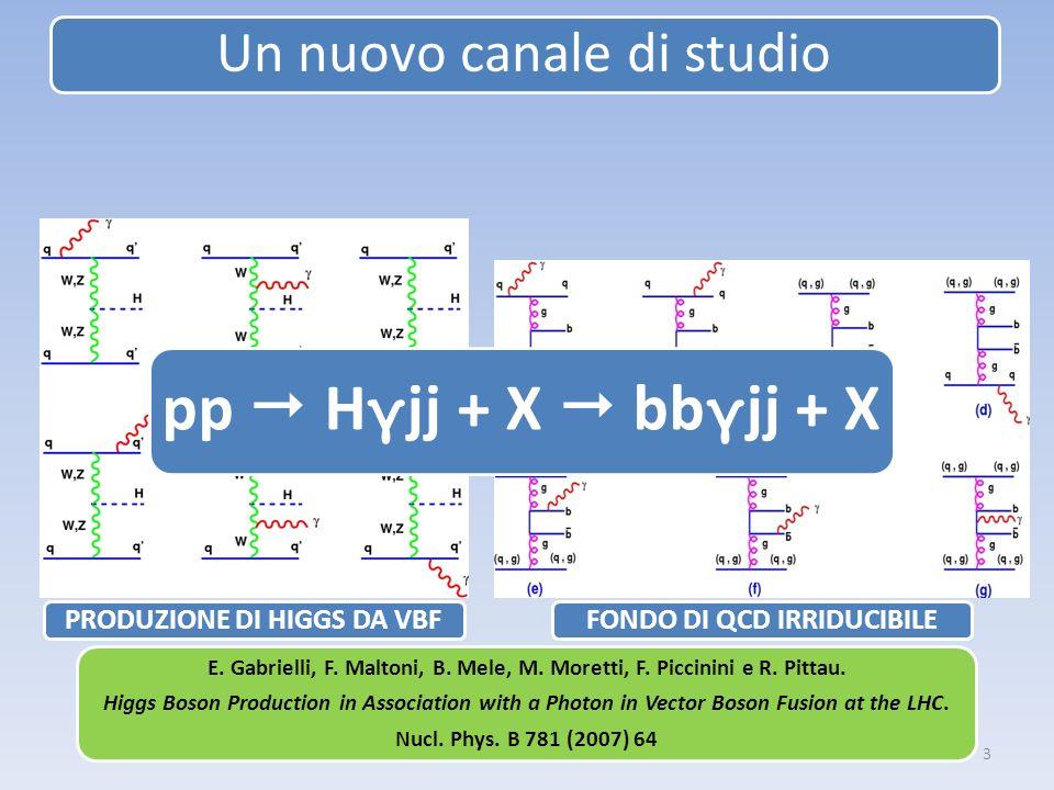 3 pp H γ jj + X bb γ jj + X Un nuovo canale di studio PRODUZIONE DI HIGGS DA VBFFONDO DI QCD IRRIDUCIBILE