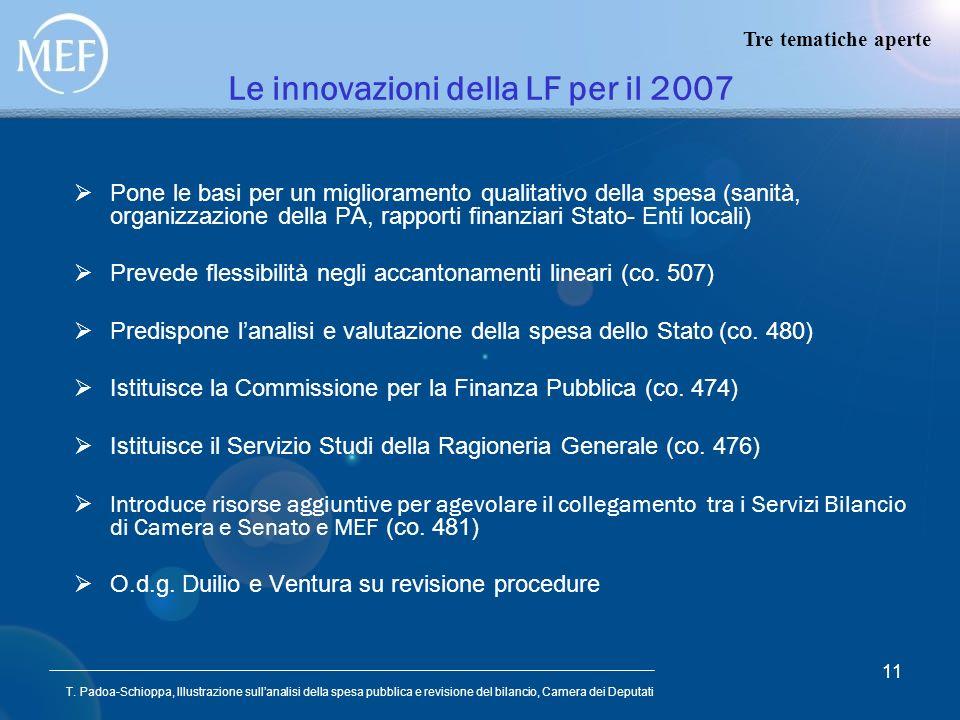 T. Padoa-Schioppa, Illustrazione sullanalisi della spesa pubblica e revisione del bilancio, Camera dei Deputati 11 Le innovazioni della LF per il 2007