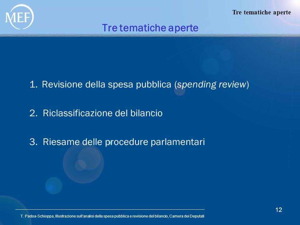 T. Padoa-Schioppa, Illustrazione sullanalisi della spesa pubblica e revisione del bilancio, Camera dei Deputati 12 Tre tematiche aperte 1.Revisione de