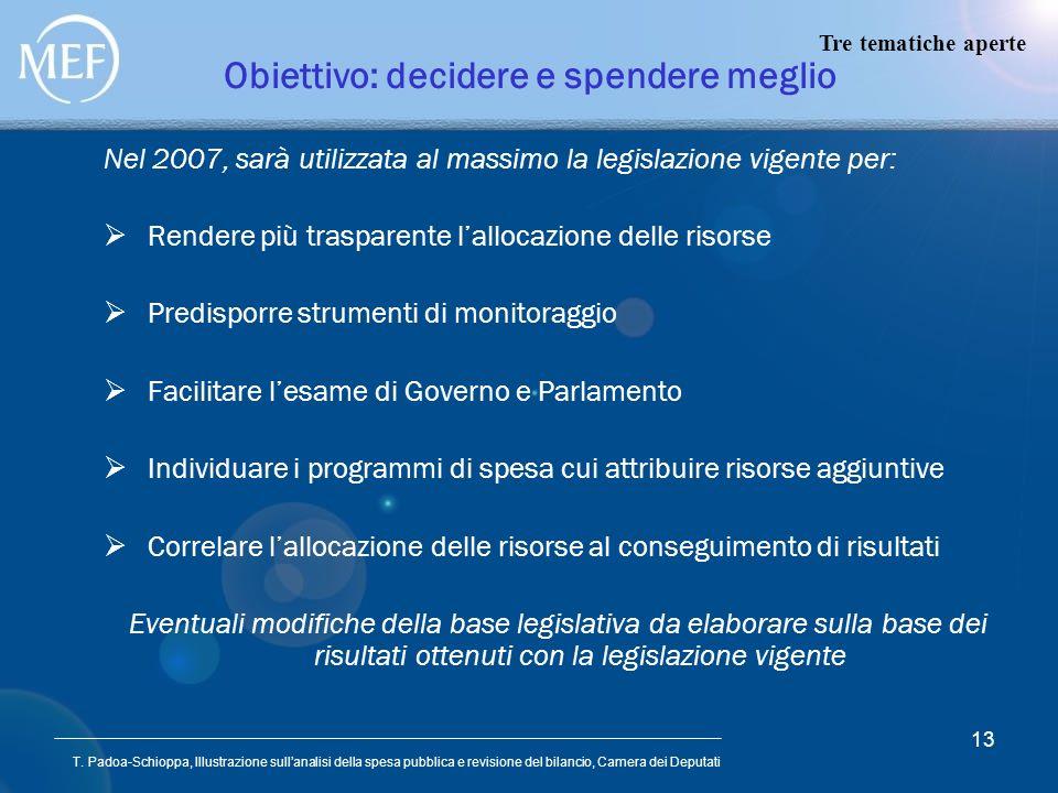 T. Padoa-Schioppa, Illustrazione sullanalisi della spesa pubblica e revisione del bilancio, Camera dei Deputati 13 Obiettivo: decidere e spendere megl