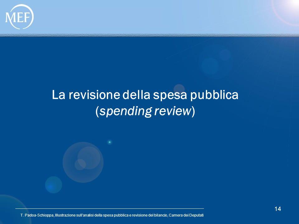 T. Padoa-Schioppa, Illustrazione sullanalisi della spesa pubblica e revisione del bilancio, Camera dei Deputati 14 La revisione della spesa pubblica (