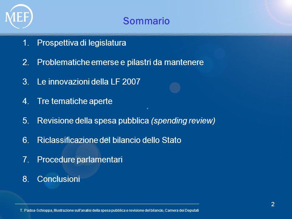T. Padoa-Schioppa, Illustrazione sullanalisi della spesa pubblica e revisione del bilancio, Camera dei Deputati 2 Sommario 1.Prospettiva di legislatur