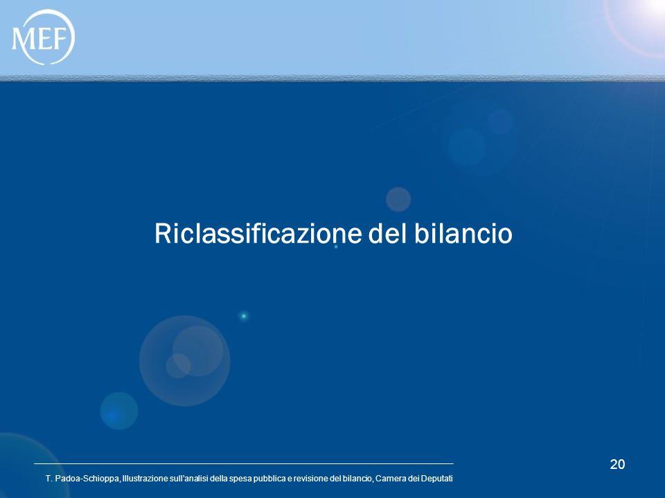 T. Padoa-Schioppa, Illustrazione sullanalisi della spesa pubblica e revisione del bilancio, Camera dei Deputati 20 Riclassificazione del bilancio