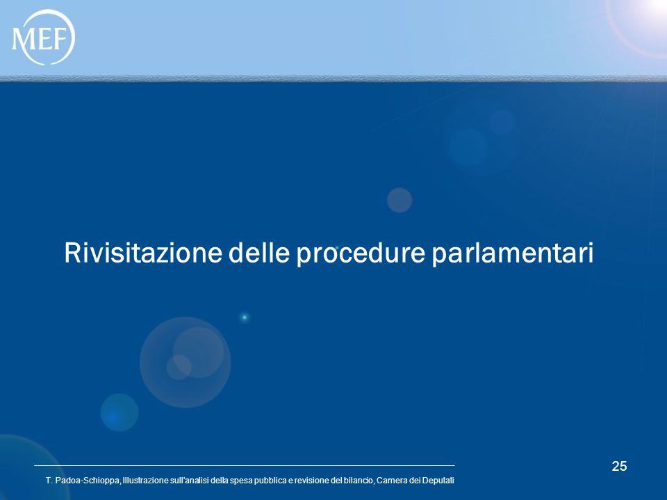 T. Padoa-Schioppa, Illustrazione sullanalisi della spesa pubblica e revisione del bilancio, Camera dei Deputati 25 Rivisitazione delle procedure parla