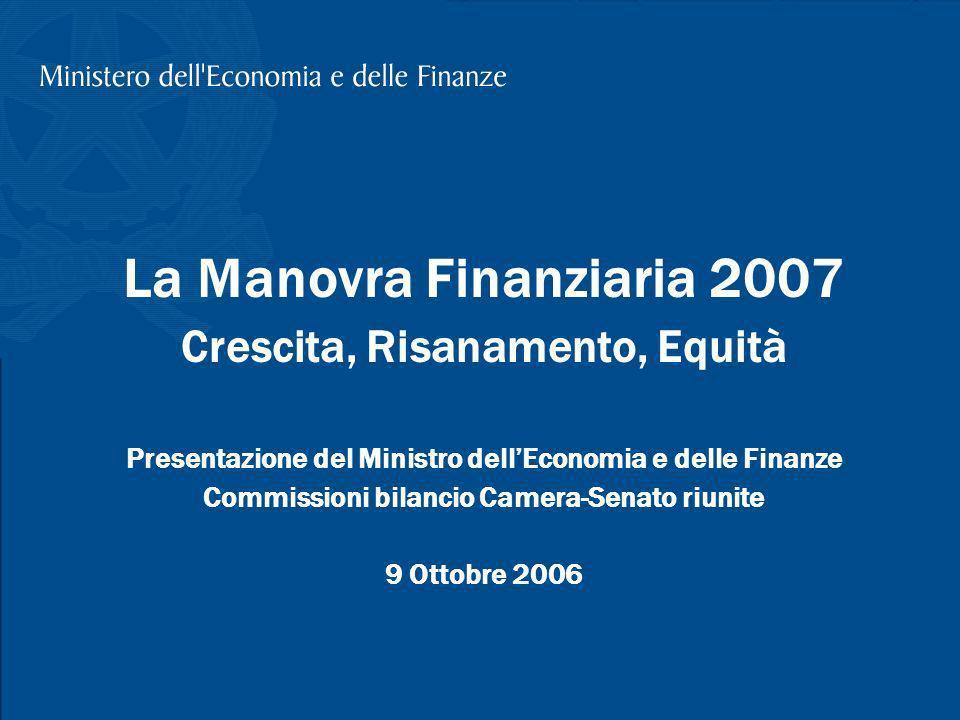 T. Padoa-Schioppa, La Legge Finanziaria 2007, Presentazione alle Commissioni bilancio Camera-Senato riunite; 9 Ottobre 2006 1 La Manovra Finanziaria 2