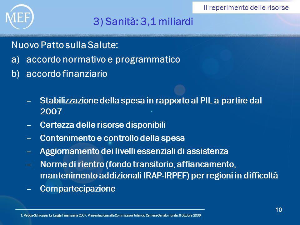 T. Padoa-Schioppa, La Legge Finanziaria 2007, Presentazione alle Commissioni bilancio Camera-Senato riunite; 9 Ottobre 2006 10 3) Sanità: 3,1 miliardi