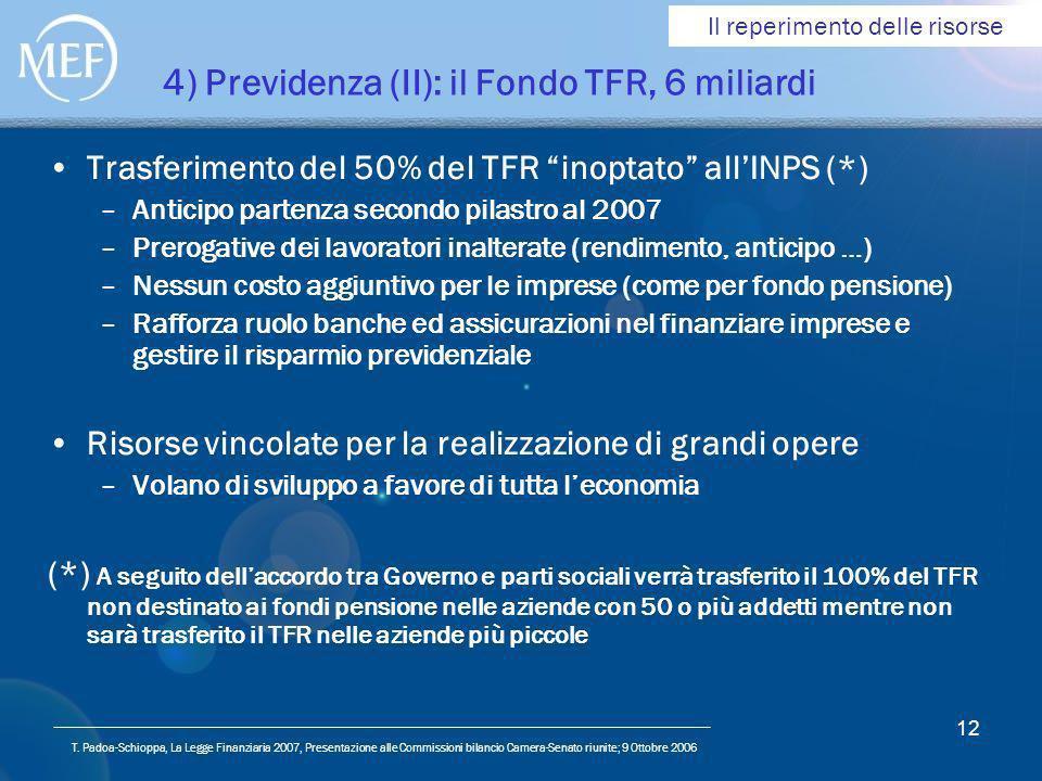 T. Padoa-Schioppa, La Legge Finanziaria 2007, Presentazione alle Commissioni bilancio Camera-Senato riunite; 9 Ottobre 2006 12 4) Previdenza (II): il