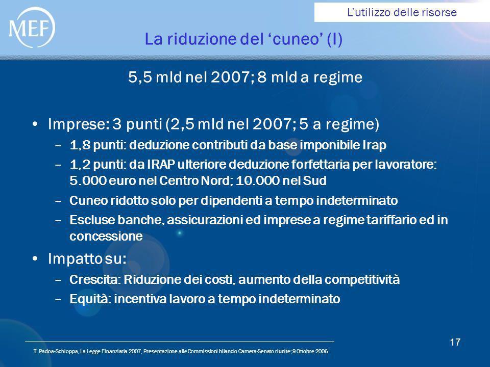 T. Padoa-Schioppa, La Legge Finanziaria 2007, Presentazione alle Commissioni bilancio Camera-Senato riunite; 9 Ottobre 2006 17 La riduzione del cuneo