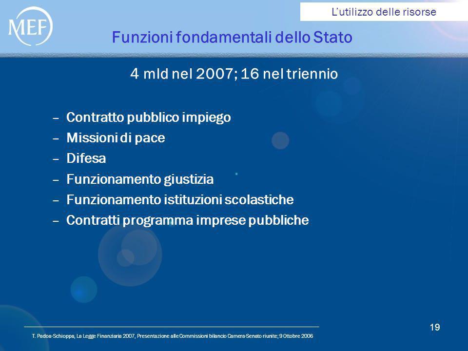 T. Padoa-Schioppa, La Legge Finanziaria 2007, Presentazione alle Commissioni bilancio Camera-Senato riunite; 9 Ottobre 2006 19 Funzioni fondamentali d