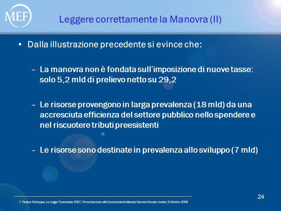 T. Padoa-Schioppa, La Legge Finanziaria 2007, Presentazione alle Commissioni bilancio Camera-Senato riunite; 9 Ottobre 2006 24 Leggere correttamente l