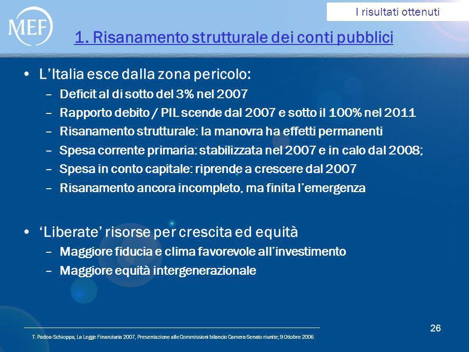 T. Padoa-Schioppa, La Legge Finanziaria 2007, Presentazione alle Commissioni bilancio Camera-Senato riunite; 9 Ottobre 2006 26 1. Risanamento struttur