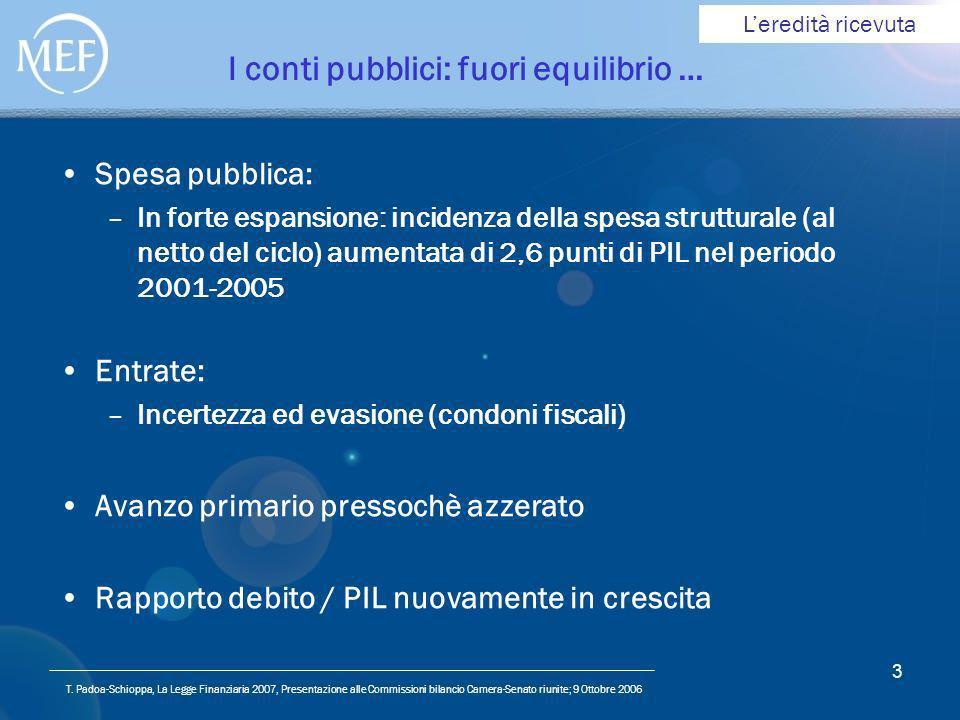T. Padoa-Schioppa, La Legge Finanziaria 2007, Presentazione alle Commissioni bilancio Camera-Senato riunite; 9 Ottobre 2006 3 I conti pubblici: fuori