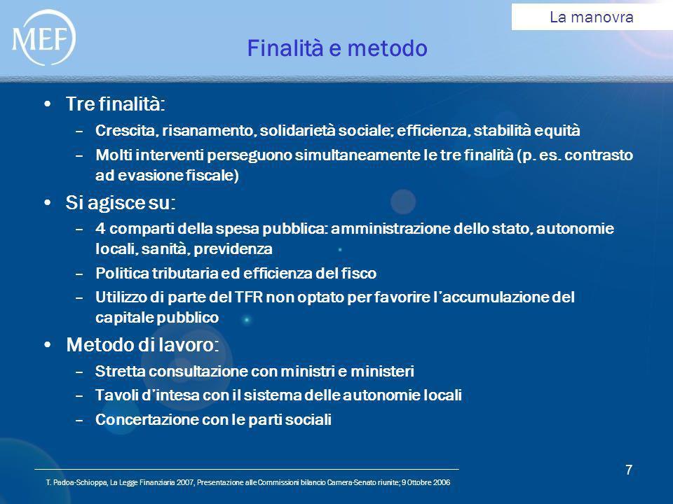 T. Padoa-Schioppa, La Legge Finanziaria 2007, Presentazione alle Commissioni bilancio Camera-Senato riunite; 9 Ottobre 2006 7 Finalità e metodo Tre fi