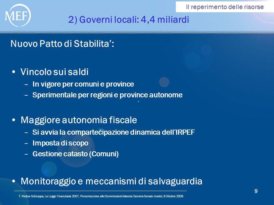 T. Padoa-Schioppa, La Legge Finanziaria 2007, Presentazione alle Commissioni bilancio Camera-Senato riunite; 9 Ottobre 2006 9 2) Governi locali: 4,4 m