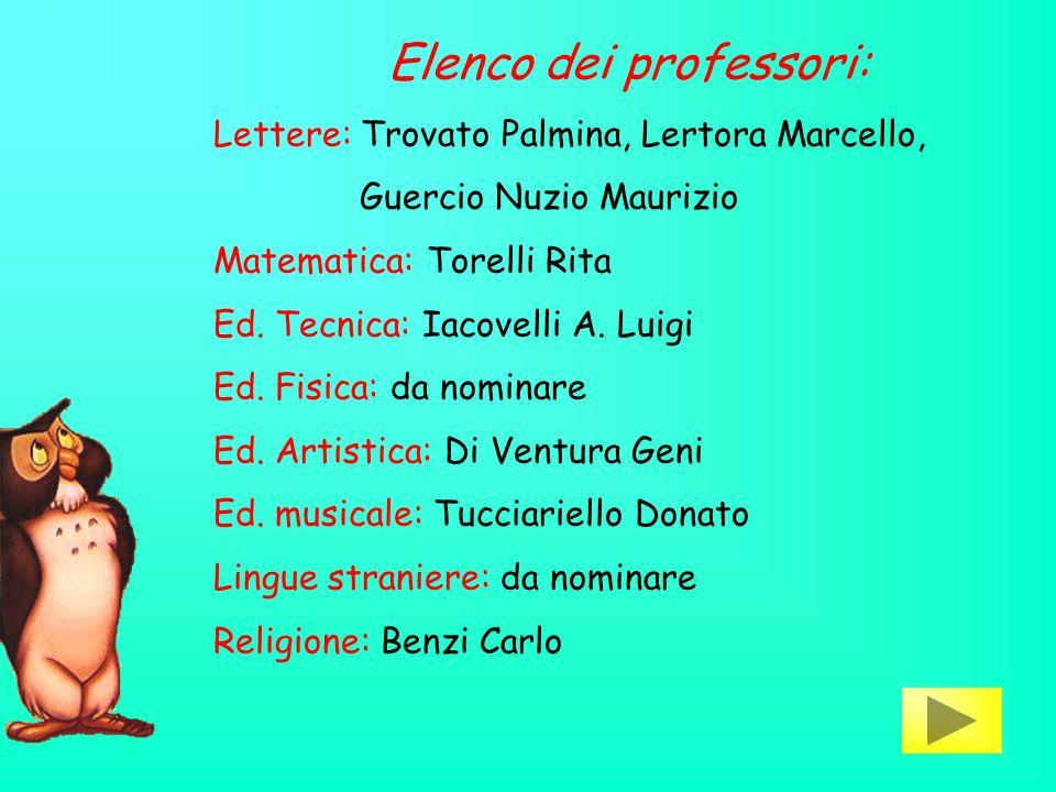Elenco dei professori: Lettere: Trovato Palmina, Lertora Marcello, Guercio Nuzio Maurizio Matematica: Torelli Rita Ed.