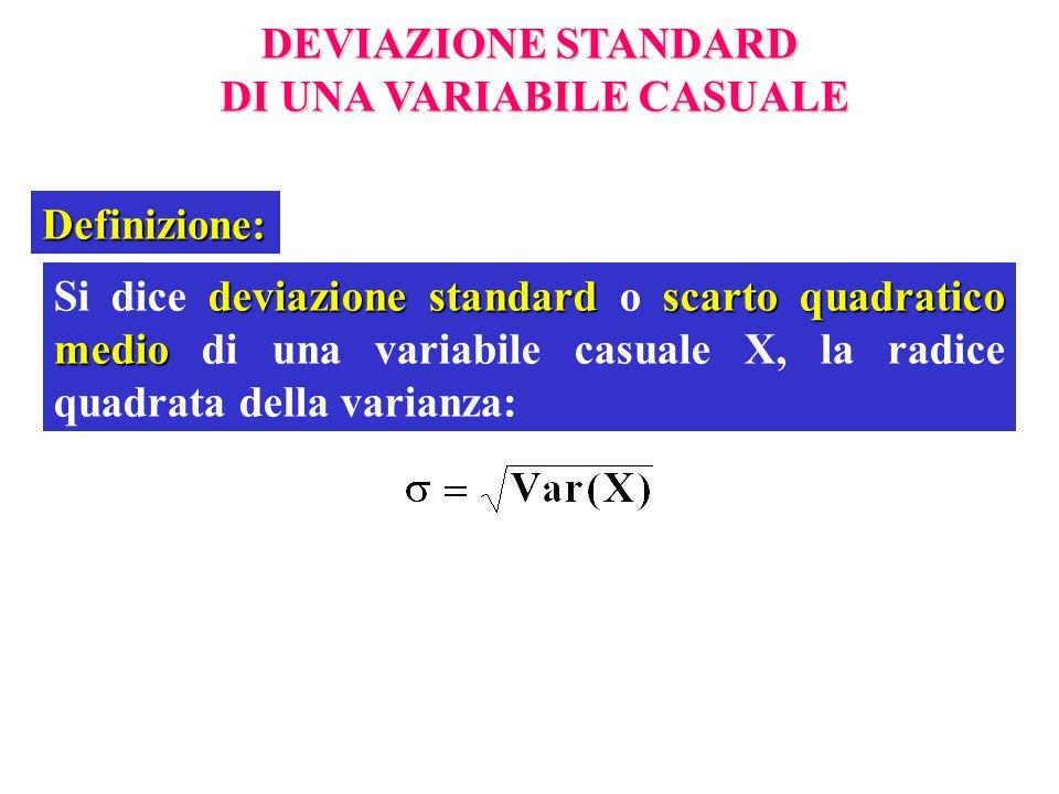 DEVIAZIONE STANDARD DI UNA VARIABILE CASUALE DI UNA VARIABILE CASUALE Definizione: deviazione standard scarto quadratico medio Si dice deviazione stan