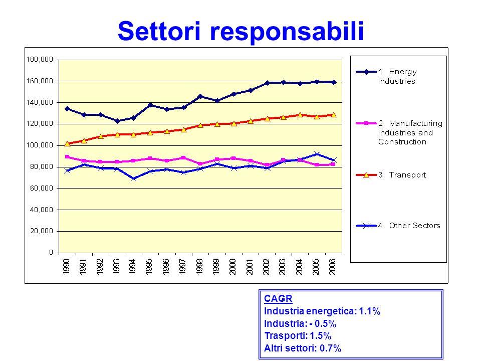 Settori responsabili CAGR Industria energetica: 1.1% Industria: - 0.5% Trasporti: 1.5% Altri settori: 0.7%