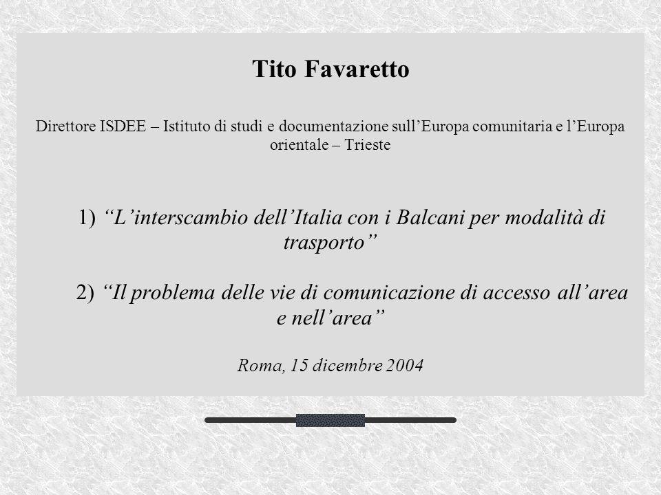 Tito Favaretto Direttore ISDEE – Istituto di studi e documentazione sullEuropa comunitaria e lEuropa orientale – Trieste 1) Linterscambio dellItalia c