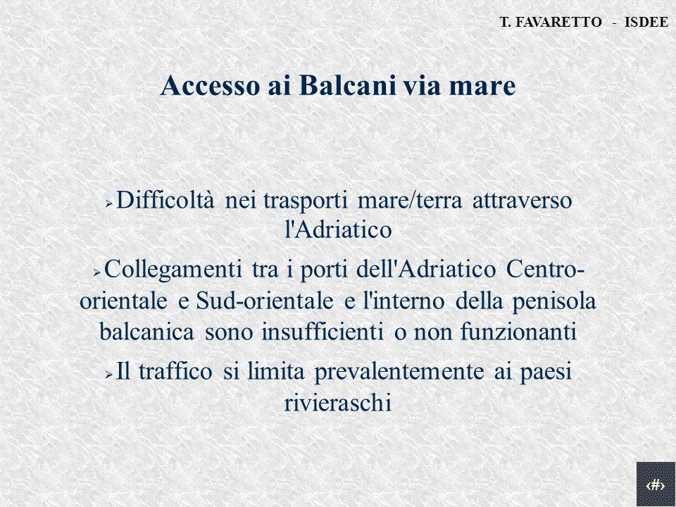 T. FAVARETTO - ISDEE 16 Accesso ai Balcani via mare Difficoltà nei trasporti mare/terra attraverso l'Adriatico Collegamenti tra i porti dell'Adriatico