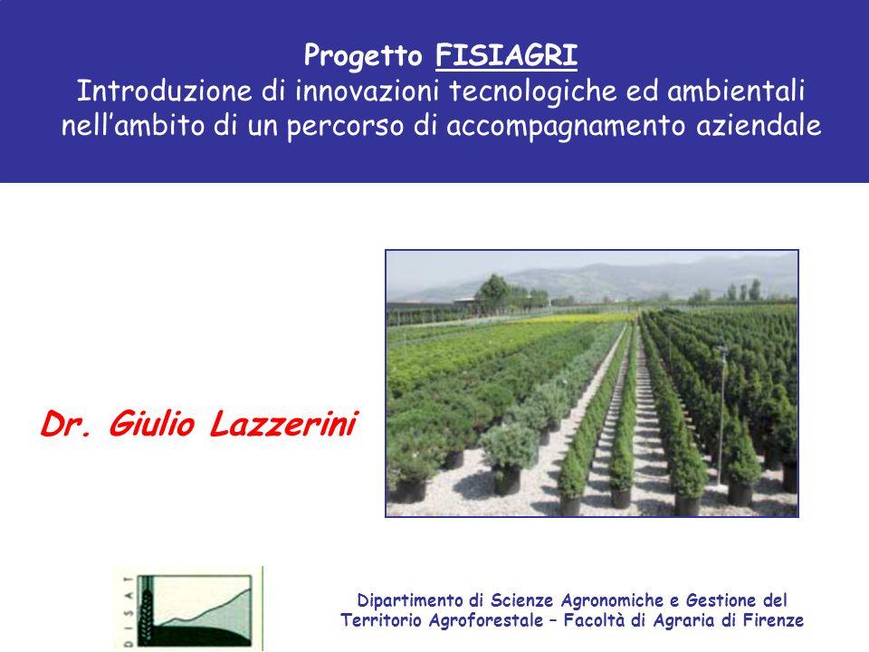 Progetto FISIAGRI Introduzione di innovazioni tecnologiche ed ambientali nellambito di un percorso di accompagnamento aziendale Dr. Giulio Lazzerini D