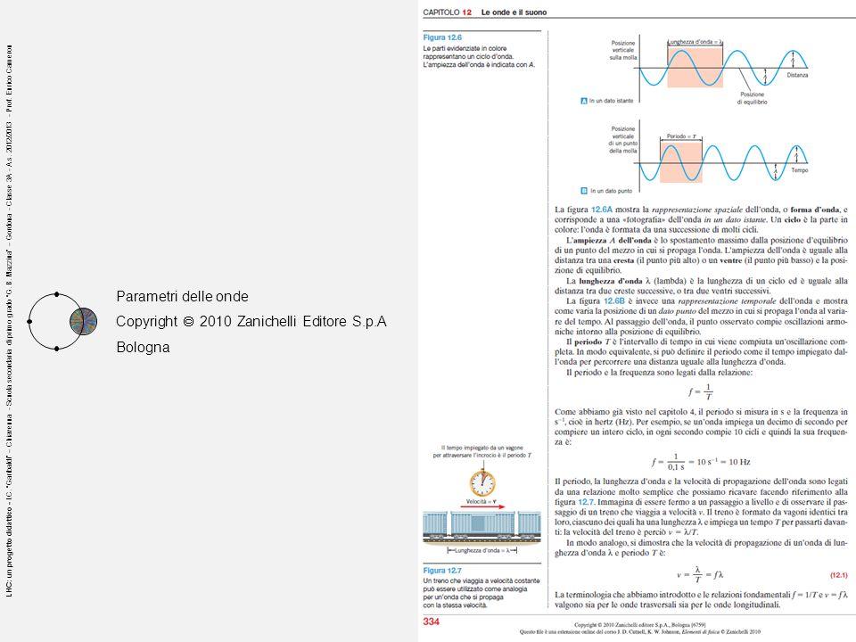 Parametri delle onde Copyright 2010 Zanichelli Editore S.p.A Bologna LHC: un progetto didattico - I.C. Garibaldi – Chiavenna - Scuola secondaria di pr