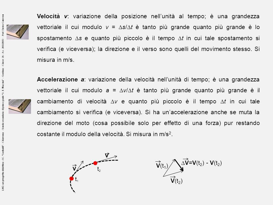 Accelerazione a: variazione della velocità nellunità di tempo; è una grandezza vettoriale il cui modulo a = v/ t è tanto più grande quanto più grande