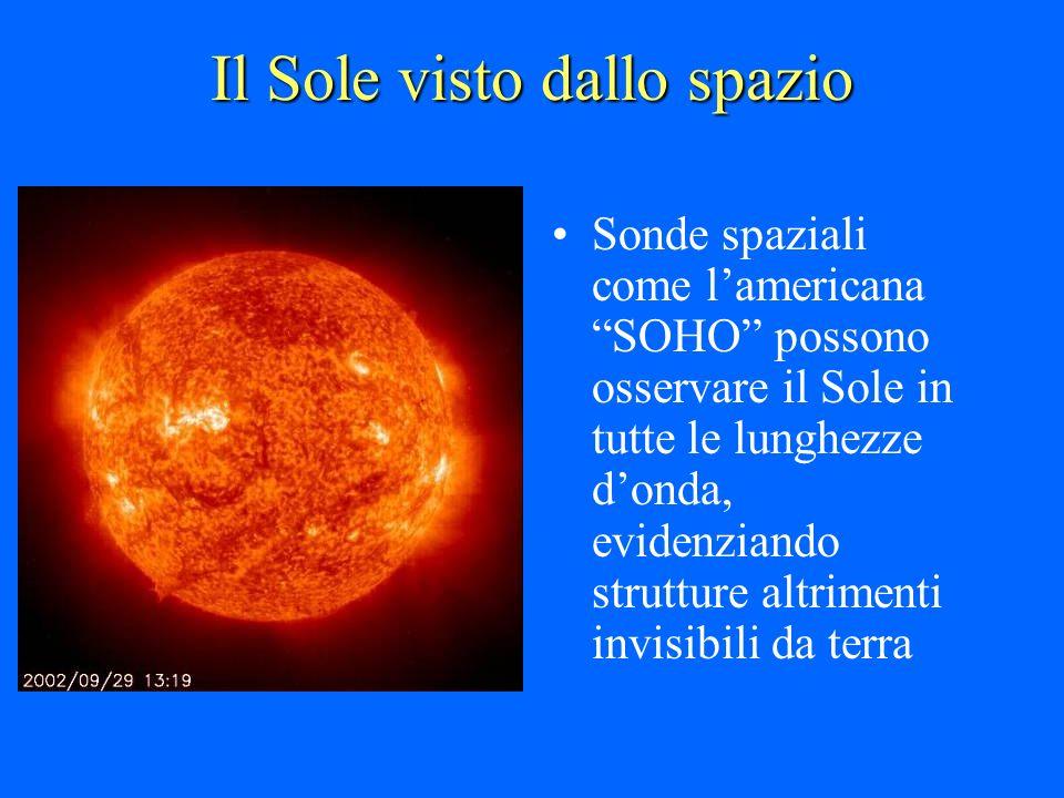 Il Sole visto dallo spazio Sonde spaziali come lamericana SOHO possono osservare il Sole in tutte le lunghezze donda, evidenziando strutture altriment
