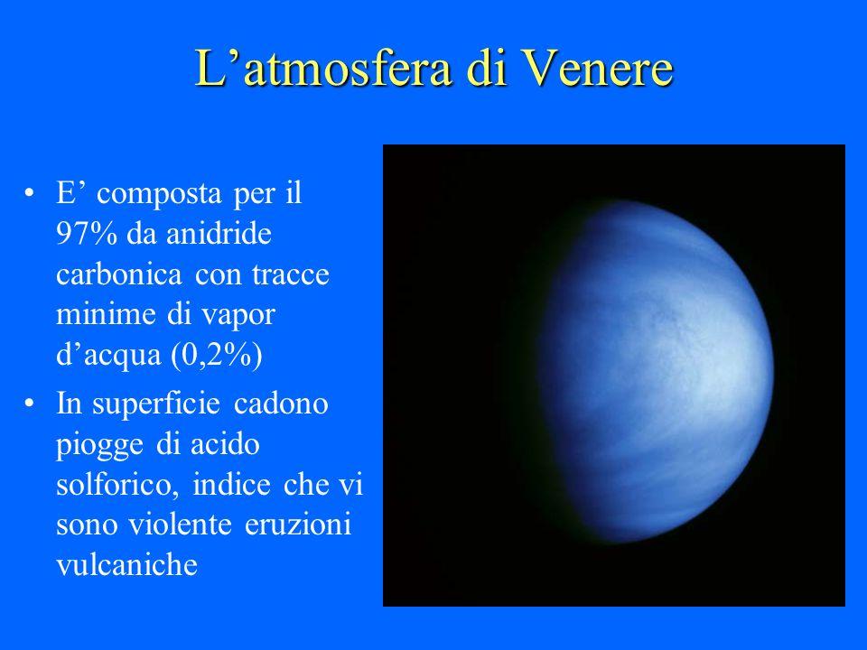Latmosfera di Venere E composta per il 97% da anidride carbonica con tracce minime di vapor dacqua (0,2%) In superficie cadono piogge di acido solfori