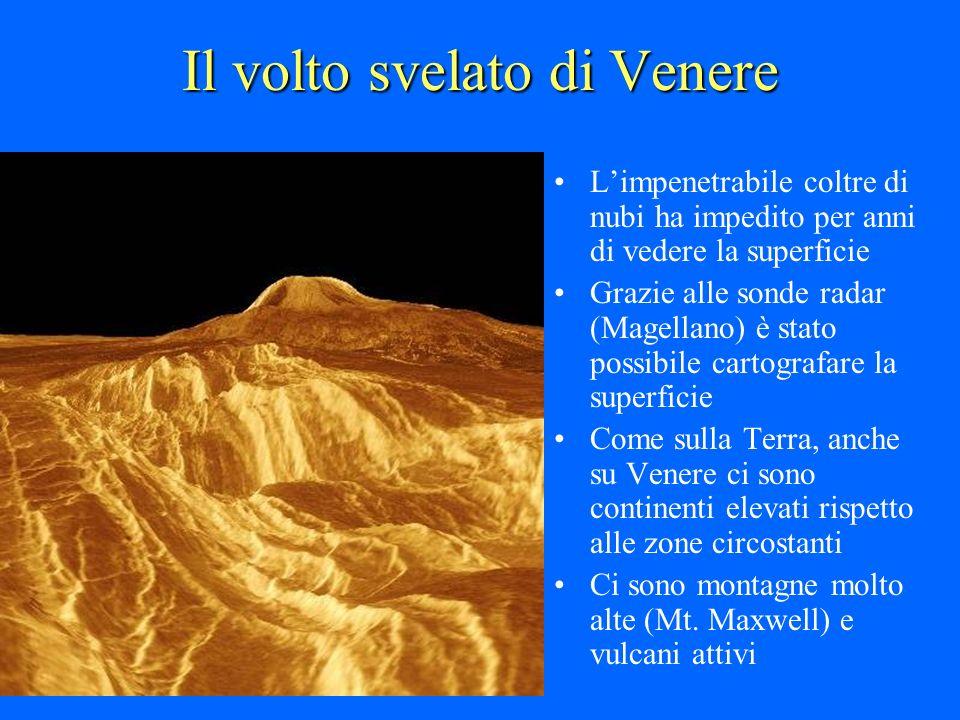 Il volto svelato di Venere Limpenetrabile coltre di nubi ha impedito per anni di vedere la superficie Grazie alle sonde radar (Magellano) è stato poss