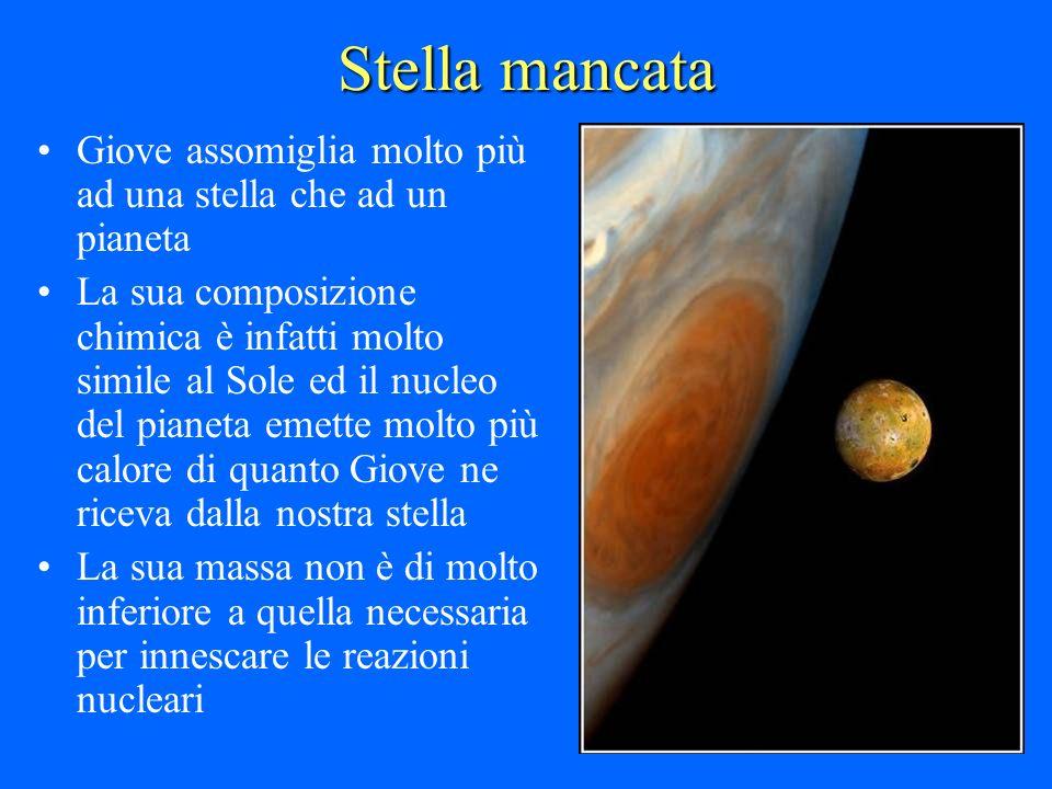 Stella mancata Giove assomiglia molto più ad una stella che ad un pianeta La sua composizione chimica è infatti molto simile al Sole ed il nucleo del