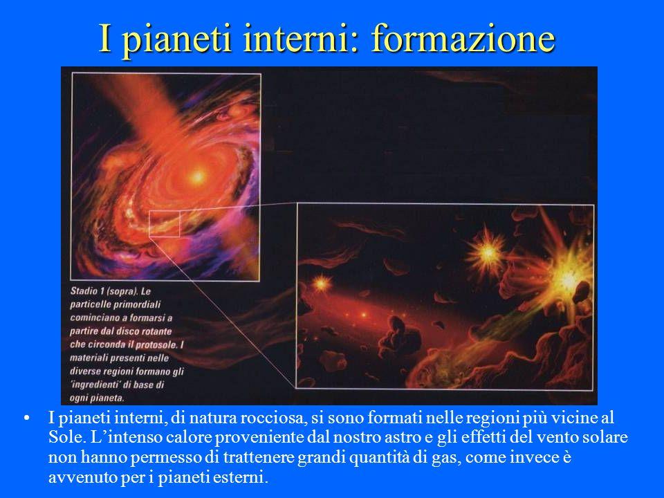 I pianeti interni: formazione I pianeti interni, di natura rocciosa, si sono formati nelle regioni più vicine al Sole. Lintenso calore proveniente dal