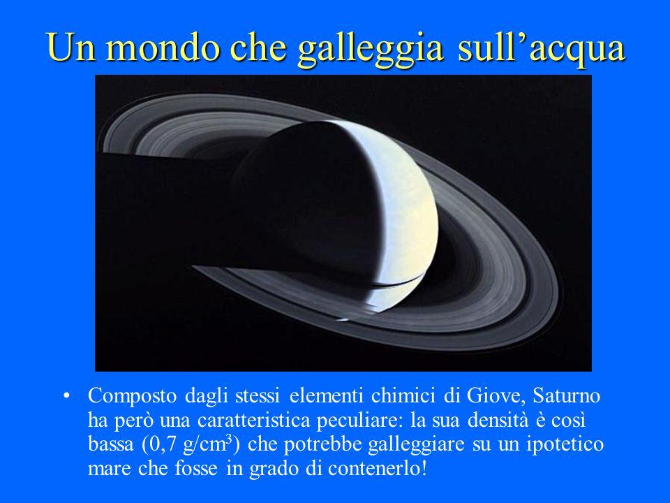 Un mondo che galleggia sullacqua Composto dagli stessi elementi chimici di Giove, Saturno ha però una caratteristica peculiare: la sua densità è così
