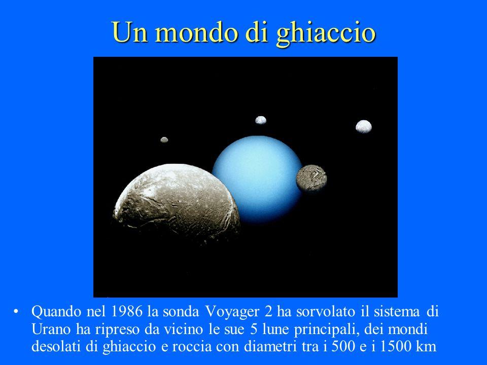 Un mondo di ghiaccio Quando nel 1986 la sonda Voyager 2 ha sorvolato il sistema di Urano ha ripreso da vicino le sue 5 lune principali, dei mondi deso