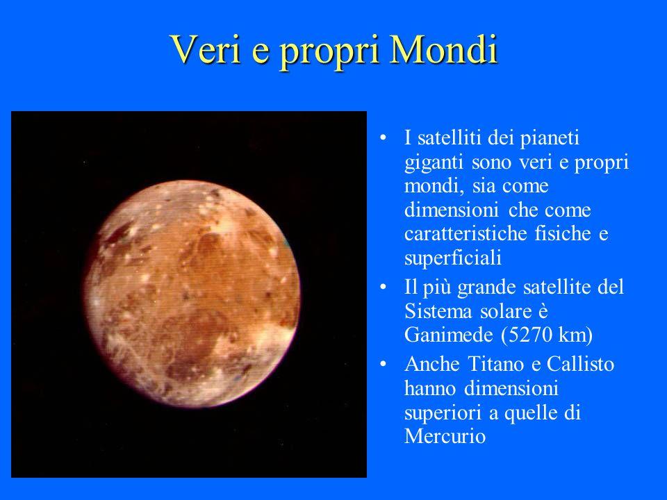 Veri e propri Mondi I satelliti dei pianeti giganti sono veri e propri mondi, sia come dimensioni che come caratteristiche fisiche e superficiali Il p