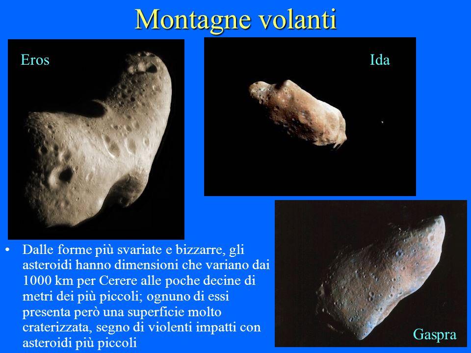 Montagne volanti Dalle forme più svariate e bizzarre, gli asteroidi hanno dimensioni che variano dai 1000 km per Cerere alle poche decine di metri dei