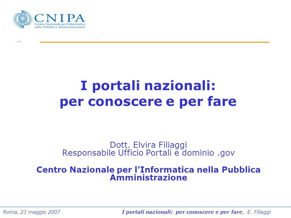 Roma, 23 maggio 2007 I portali nazionali: per conoscere e per fare, E. Filiaggi I portali nazionali: per conoscere e per fare Dott. Elvira Filiaggi Re